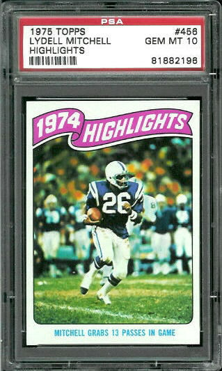 1975 Topps #456 - 1974 Highlights: Mitchell grabs 13 passes in game - PSA 10